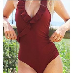 Cupshe Red Ruffle Halter One Piece Swimsuit